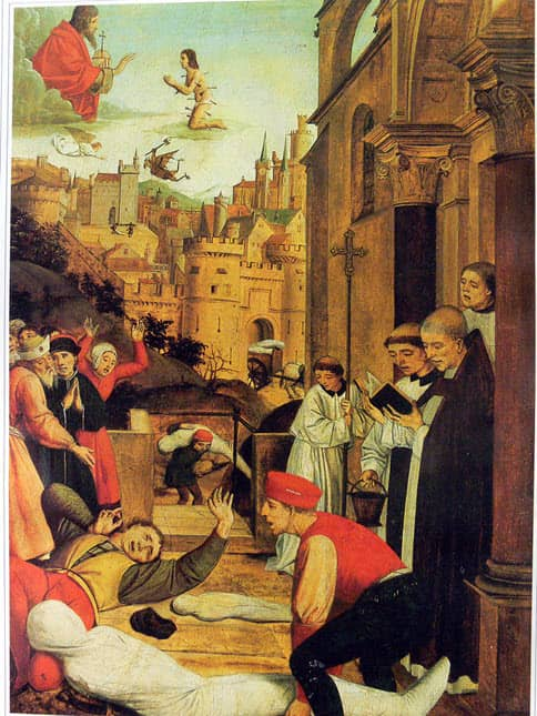 A scene depicting Sain Sebastian's plead to Jesus for people's safe lives from the Plague of Justinian