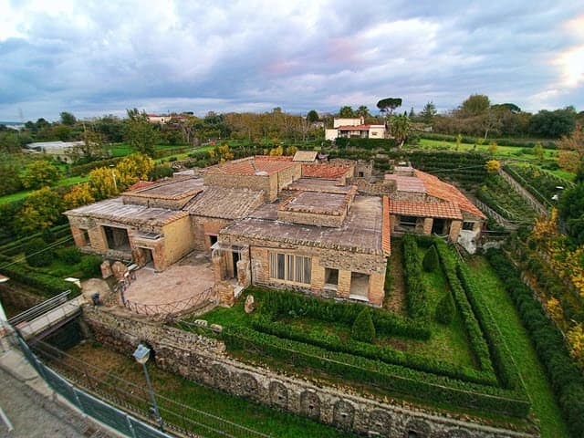 An aerial view of the Villa of Mysteries