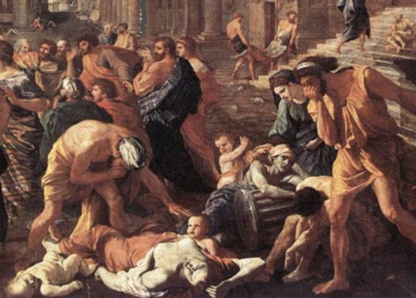 An image depicting chaos due to the plague of Cyprian