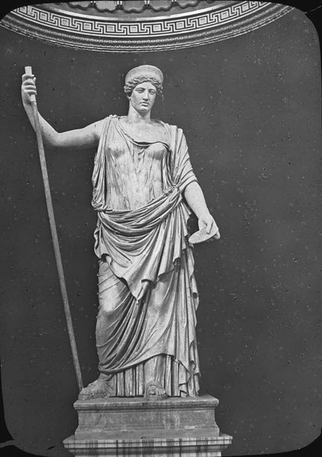 Goddess Juno depicted as an armed woman