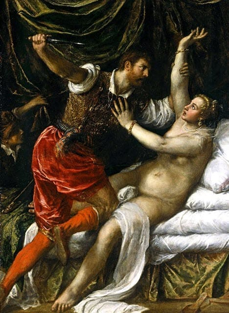 A depiction of the rape of Lucretia by Tarquin