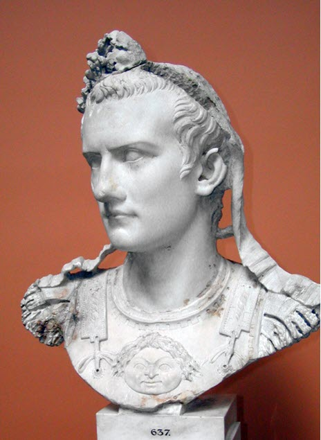 A white bust of one of the worst emperors of ancient Rome - Caligula