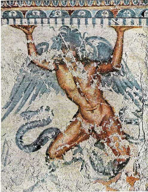 An image of Etruscan mural of Typhon