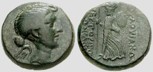 The face of Fulvia imprinted on Roman Coin