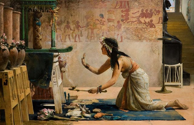 A painting of mummification of an Egyptian Cat