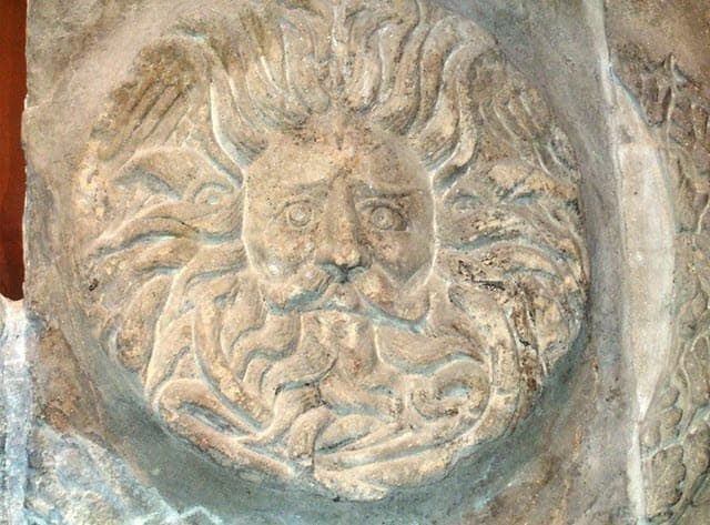 A photo of Gorgon at the Roman Bath House's temple