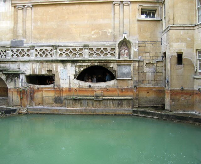A photo of the prohibited area of the sacred bath at the Roman Bath House