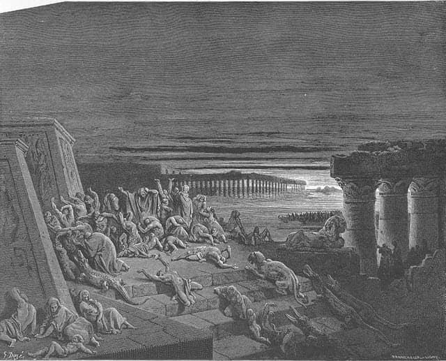 A scene depicting the ninth plague - darkness