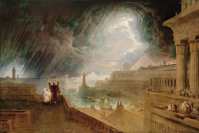 A scene depicting the seventh plague - raging hail