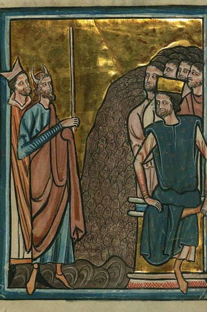 A scene depicting the third plague - lice infection