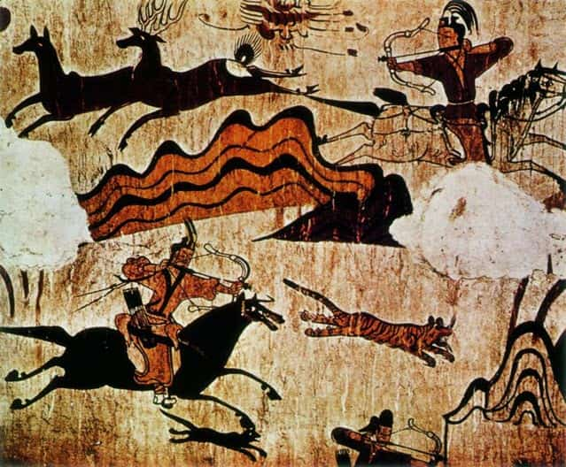 A scene from the Ancient Egyptian funerary paintings