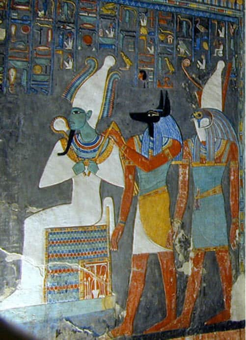 A wall painting of Egyptian deities
