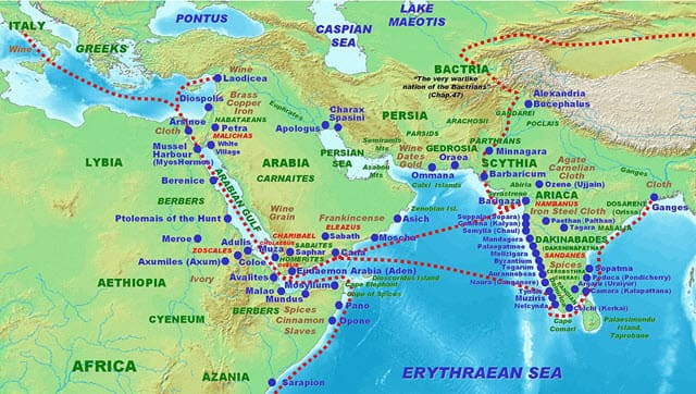 Ancient-Roman-Trade-with-the-countries-shown-in-the-map