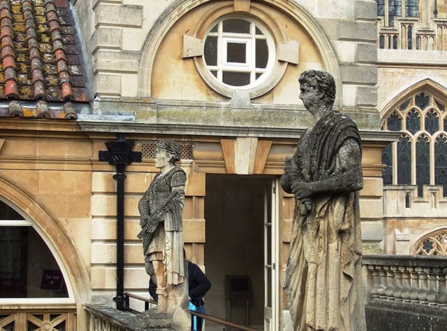 The statues of Victorian Emperors and Governors at the terrace of the Roman Bath House