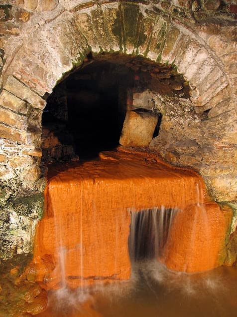 The unique area of the Roman Bath House - the spring overflow